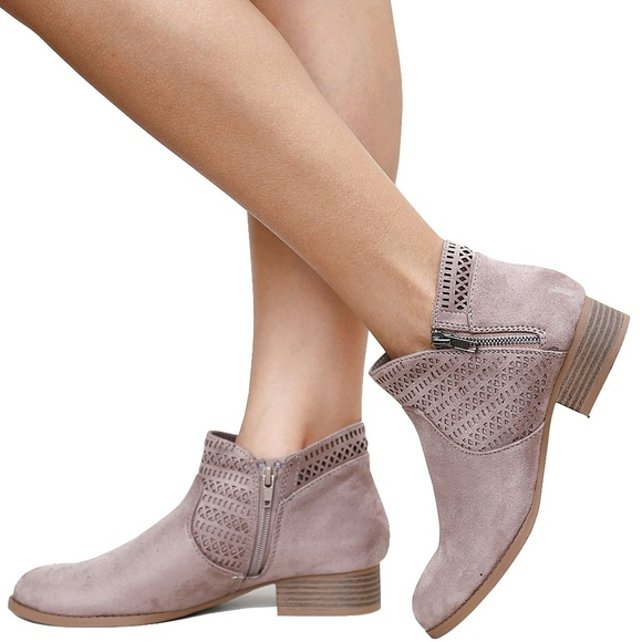 ef602e0cd Shoes | New Taupe Cutout Low Heel Booties Ankle Boots | Poshmark